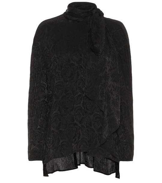 Chloé Silk-blend floral jacquard blouse in black