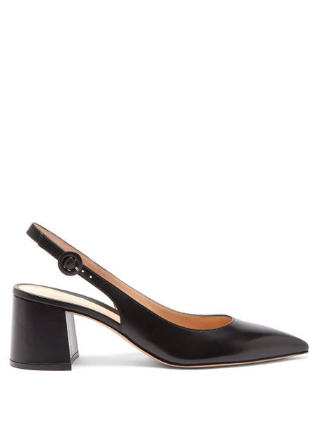 Gianvito Rossi - Point-toe Leather Slingback Pumps - Womens - Black