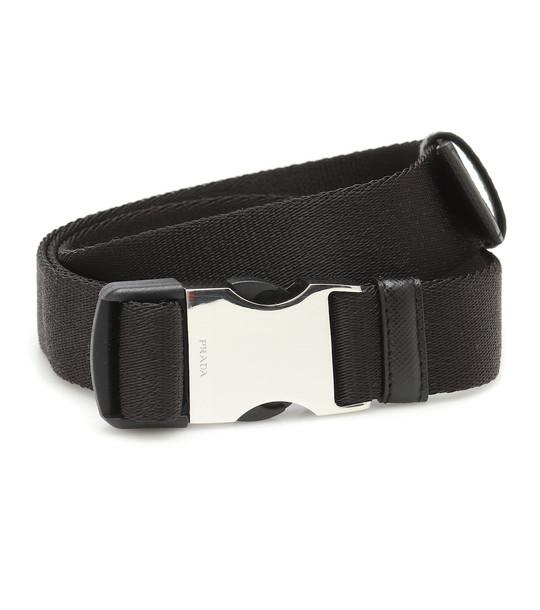Prada Leather-trimmed canvas belt in black