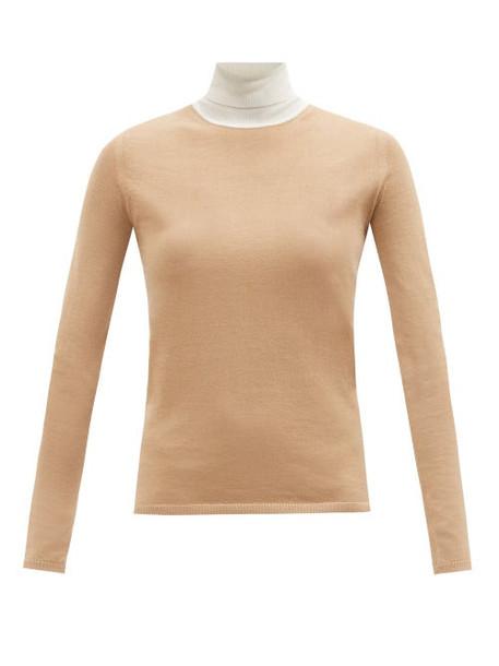 Gabriela Hearst - Bi Costa Roll-neck Cashmere-blend Sweater - Womens - Beige White