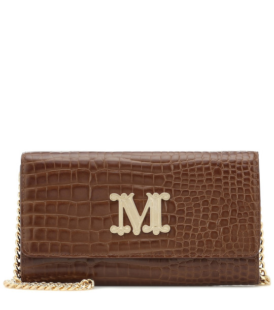 Max Mara Con croc-effect leather shoulder bag in brown