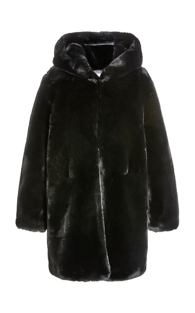 Apparis Maria Hooded Faux Fur Coat in black