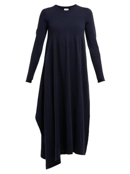 Barrie - Asymmetric Side Slit Cashmere Midi Dress - Womens - Navy