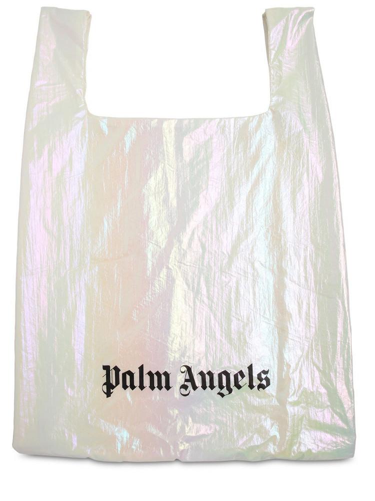 PALM ANGELS Metallic Nylon Tote Bag in white