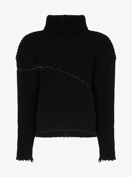 Unravel Project Hybrid wool zip detail jumper in black
