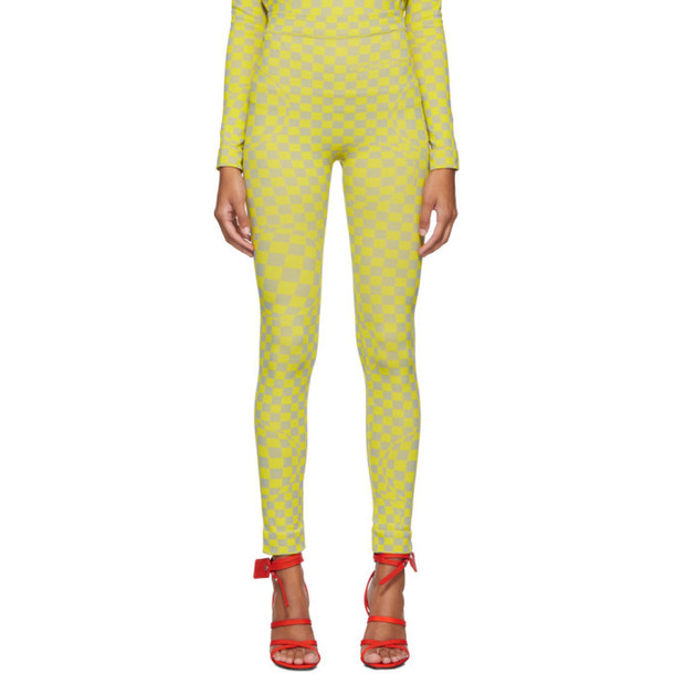 Off-White Grey and Yellow Bubble Check Leggings