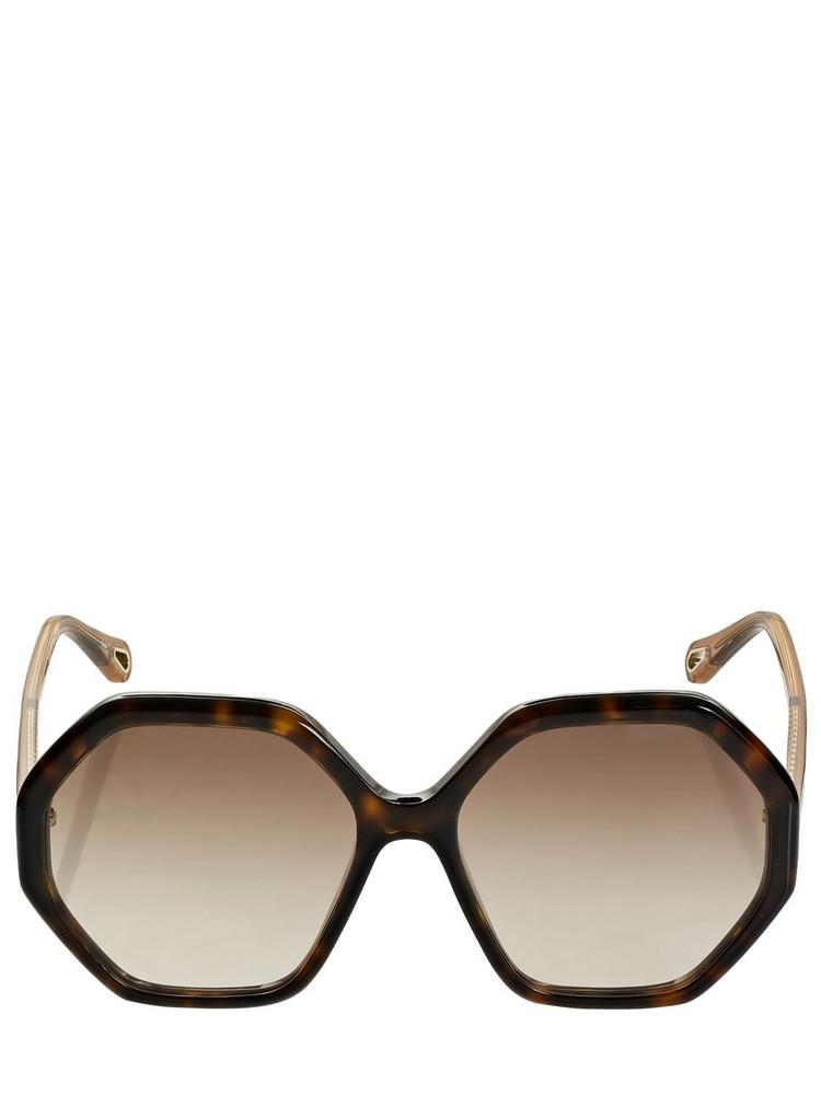 CHLOÉ Esther Geometrical Acetate Sunglasses in brown