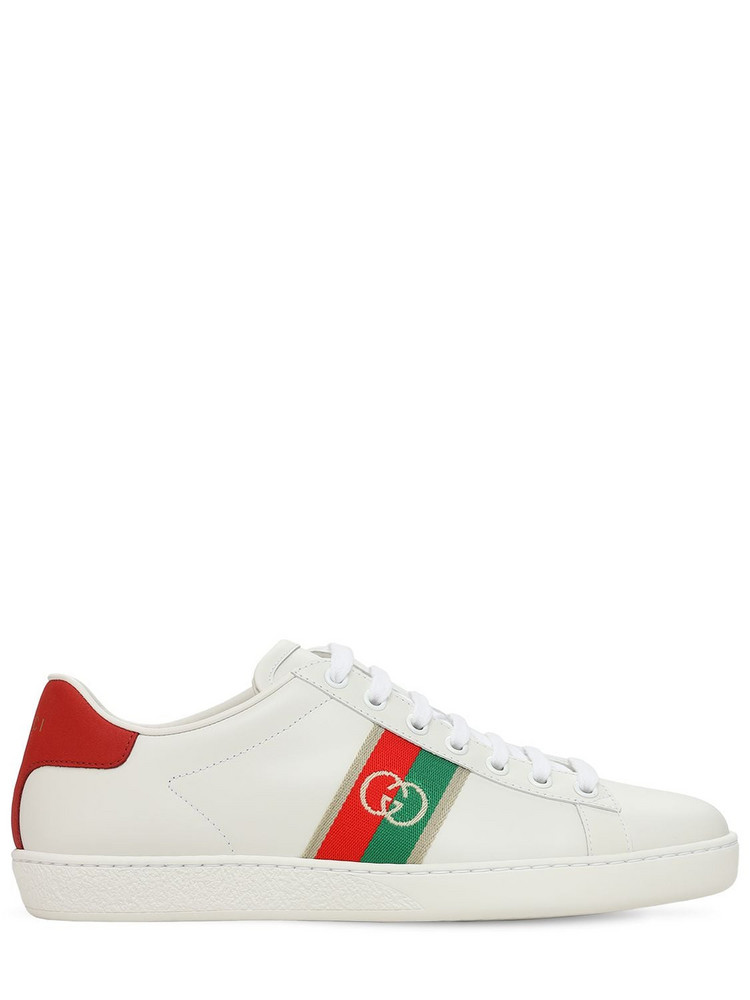 GUCCI 15mm Ace Leather Sneakers W/ Gg in white