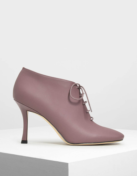 Laced Up Booties in purple