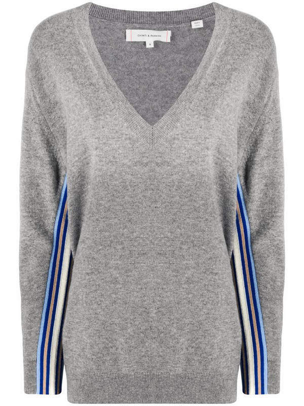 Chinti and Parker oversized side-stripe jumper in grey