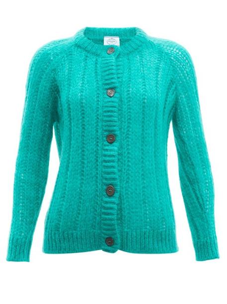 Prada - Long Line Mohair Blend Cardigan - Womens - Green