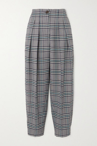 See By Chloé See By Chloé - Pleated Checked Twill Tapered Pants - Blue