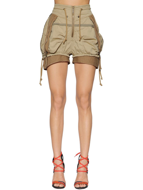 DSQUARED2 Stretch Cotton Twill Military Shorts in beige / beige