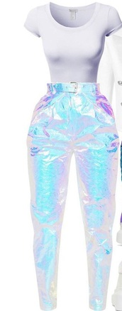 pants,unicorn,mermaid,cargo pants,metallic,rainbow,multicolor,shiny