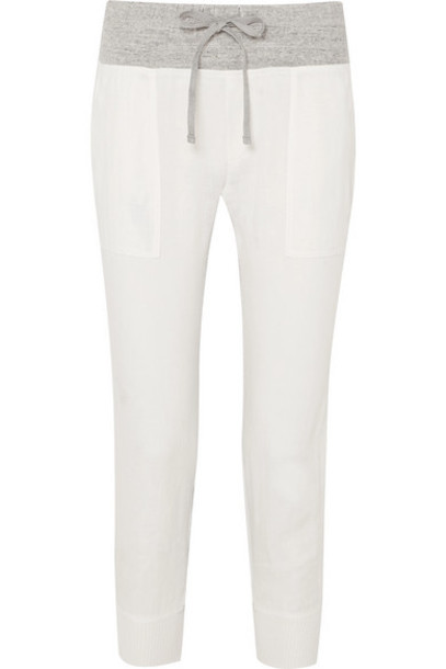 James Perse - Mixed Media Linen And Mélange Cotton-jersey Track Pants - White