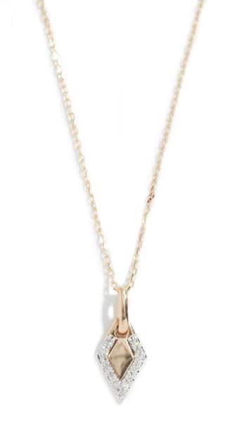 Adina Reyter 14k Tiny Pavé Diamond Dog Tag Necklace in gold / yellow