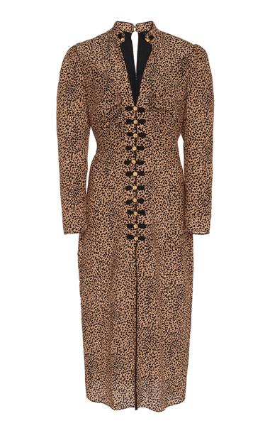 Saloni Andrea Button-Embellished Printed Silk Midi Dress Size: 2