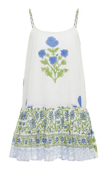 Juliet Dunn Poppy Print Cami Cotton Dress in white