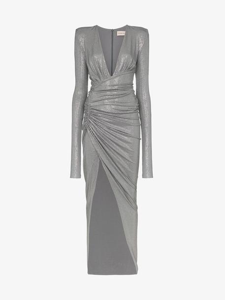 Alexandre Vauthier plunge neck evening dress in grey