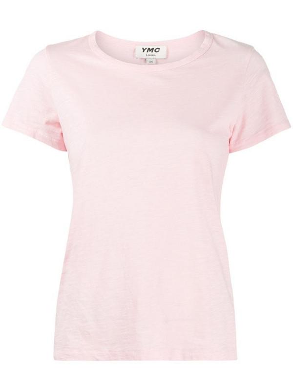 YMC short sleeved burnout T-shirt in pink