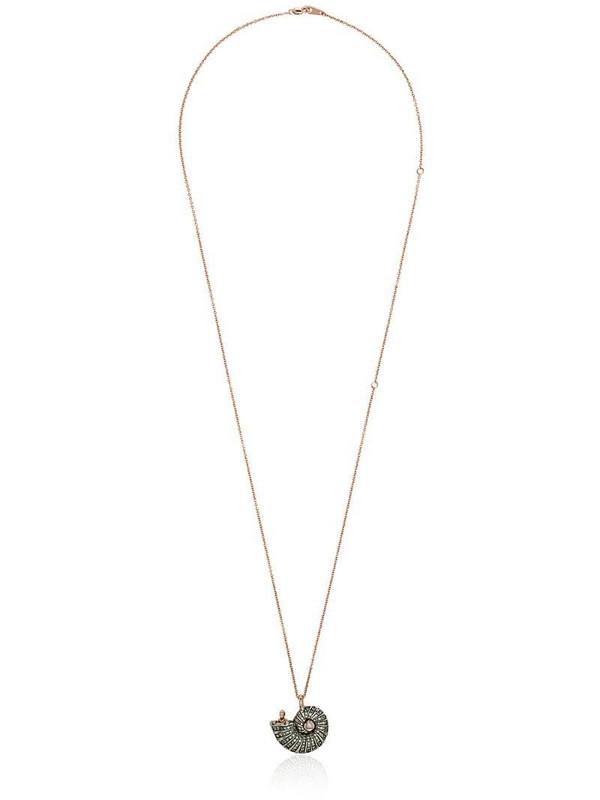 Bibi van der Velden 18K rose gold diamond and sapphire shell pendant in metallic