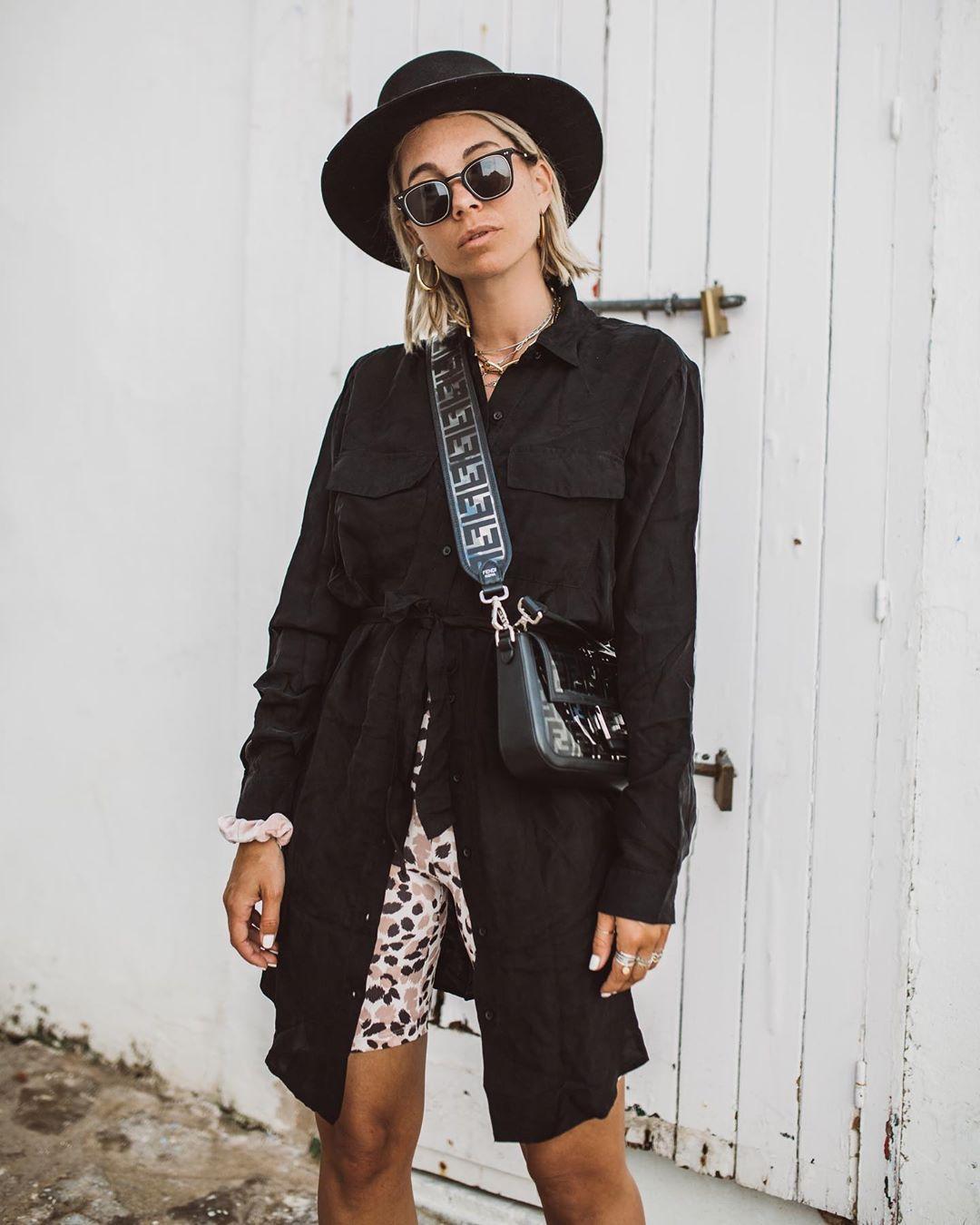 pants leggings black dress shirt dress fendi bag hat
