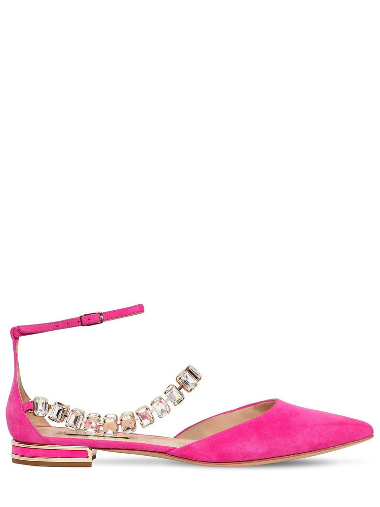 CASADEI 10mm Embellished Suede Flats in fuchsia