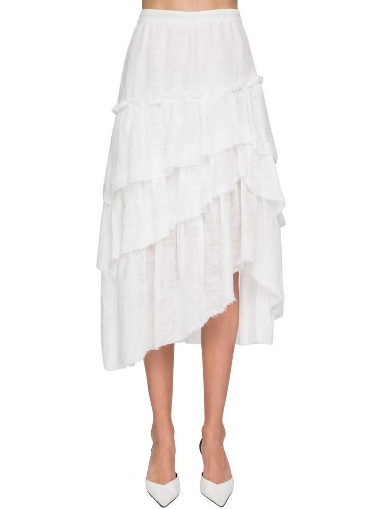 ERMANNO SCERVINO Garza Ruffled Cotton Midi Skirt in white