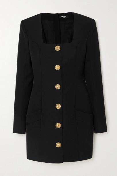 BALMAIN - Button-embellished Grain De Poudre Wool Mini Dress - Black