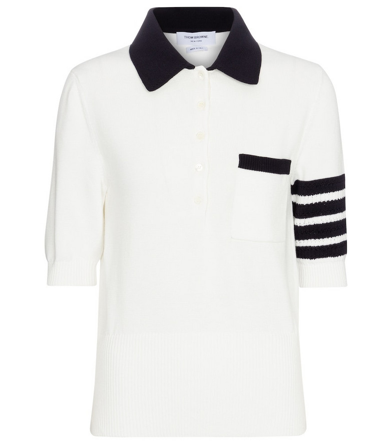 Thom Browne Cotton knit polo shirt in white