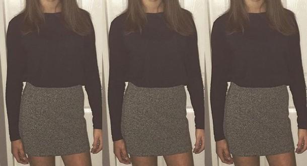skirt black grey mini skirt