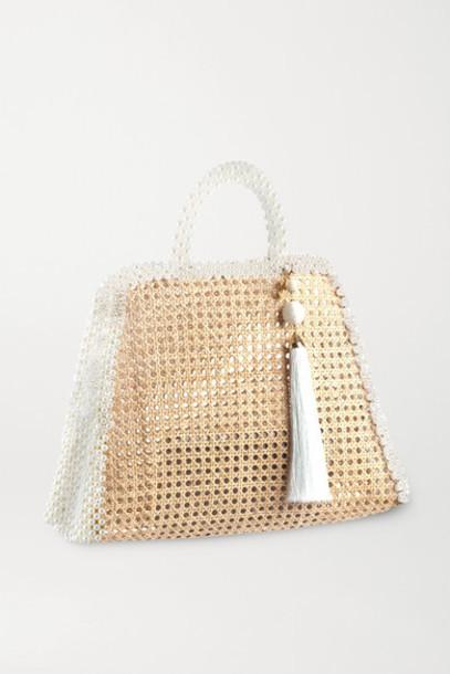 Rosantica - Lido Faux Pearl-embellished Wicker Tote - Neutral