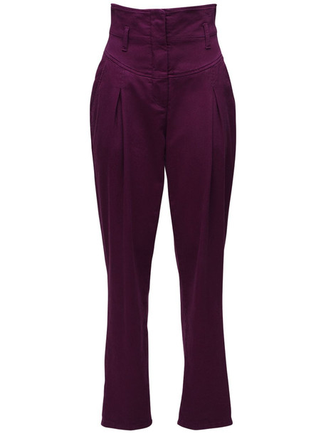 ALBERTA FERRETTI High Waist Stretch Cotton Denim Jeans in purple