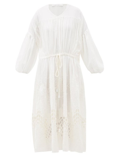 Love Binetti - Esperanza Floral-embroidered Cotton Midi Dress - Womens - Ivory