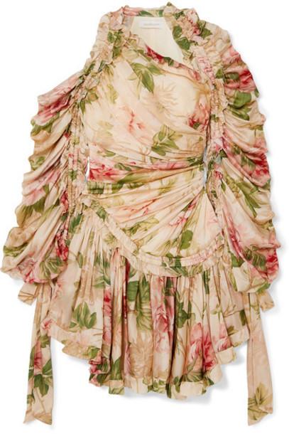 Zimmermann - Espionage Drawn Ruched Asymmetric Floral-print Silk-chiffon Dress - Ivory