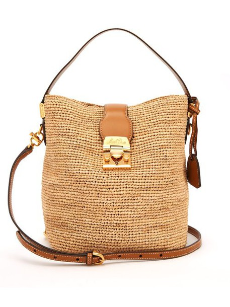 Mark Cross - Murphy Raffia Bucket Bag - Womens - Tan Multi