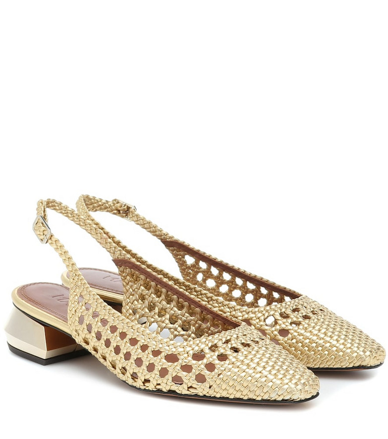 Souliers Martinez Miramar 40 woven leather sandals in gold