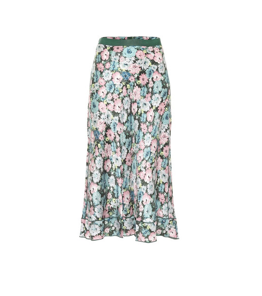 Marc Jacobs The '40s floral silk jacquard midi skirt in green