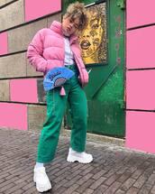 jeans,green jeans,white shoes,platform shoes,socks,pink jacket,puffer jacket,white turtleneck top,puma,crossbody bag