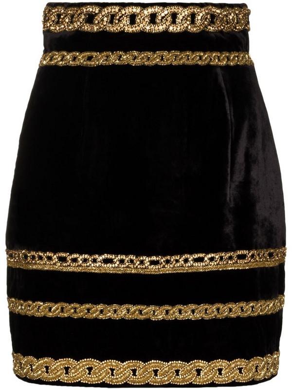Balmain embroidered-chain velvet mini skirt in black