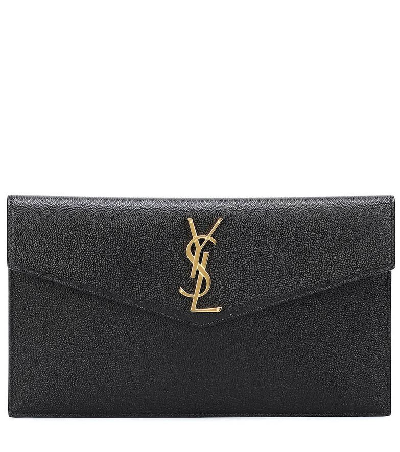 Saint Laurent Uptown leather clutch in black