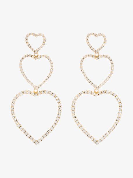 Rosantica Gold tone triple heart crystal earrings