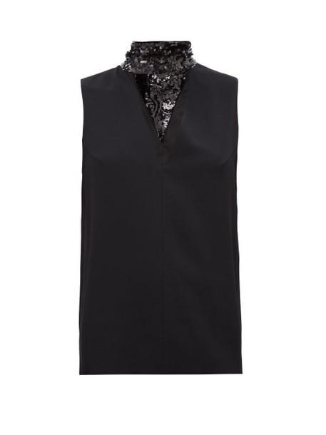 Galvan - Cortado Sequinned Neck-tie Crepe Top - Womens - Black