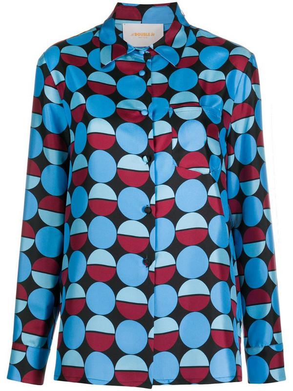 La Doublej abstract print silk shirt in blue