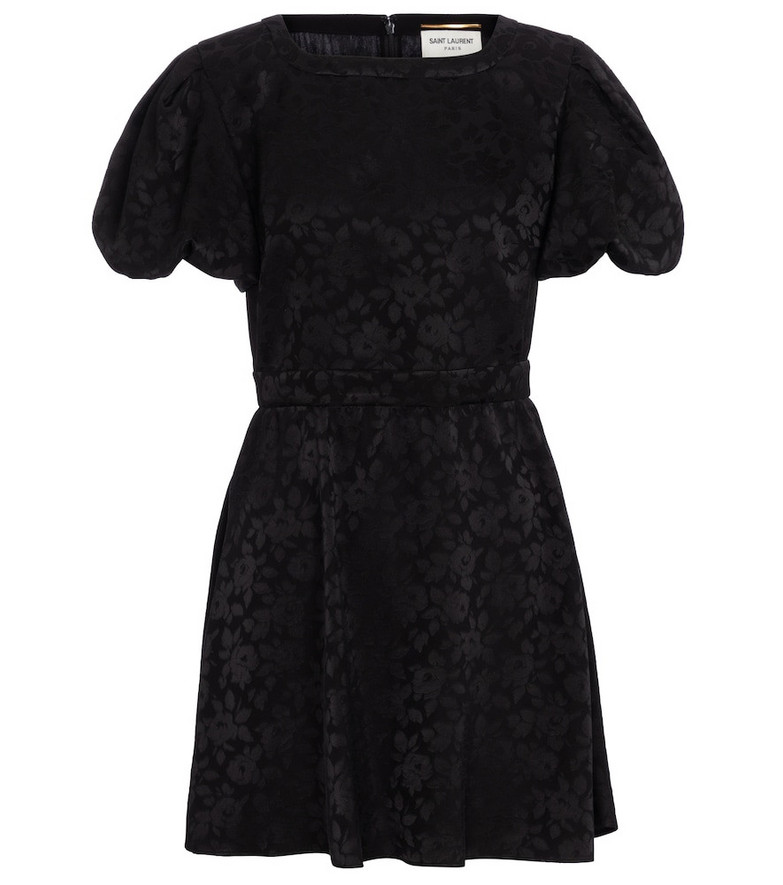 Saint Laurent Floral silk jacquard minidress in black