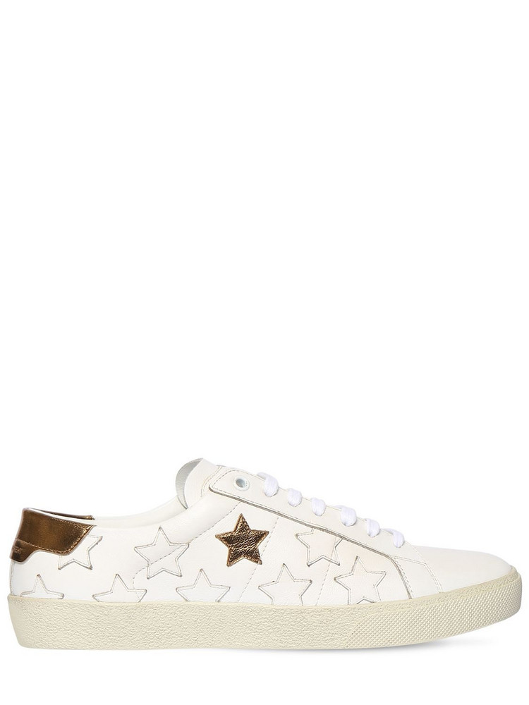 SAINT LAURENT 20mm Star Leather Sneakers in gold / white