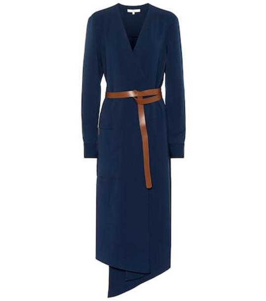 Tibi Drape twill wrap midi dress in blue