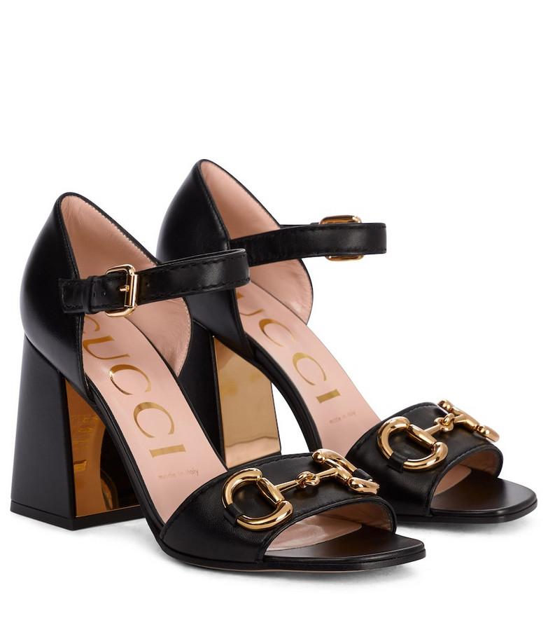 Gucci Horsebit leather sandals in black