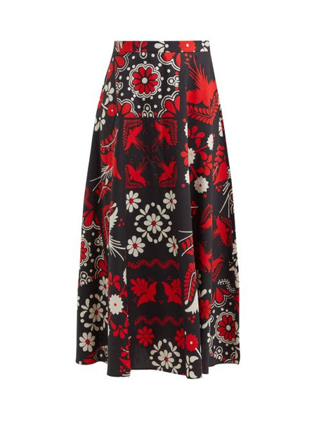 Redvalentino - Floral And Bird Print Cotton Maxi Skirt - Womens - Black Multi