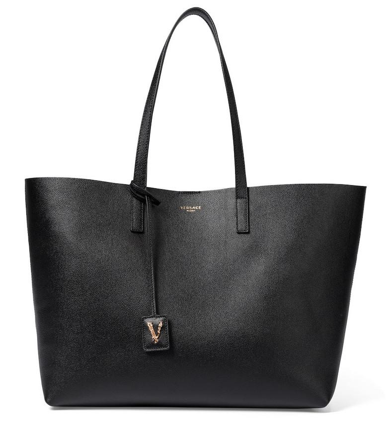 Versace Virtus Medium leather tote in black